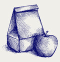 School lunch. Paper bag and apple Royalty Free Stock Image