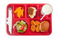 School lunch tray on a white background Royalty Free Stock Photo
