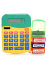 School marking stamps and calculator Royalty Free Stock Photo