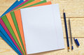 School notebooks, pen and pencil Royalty Free Stock Photo