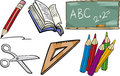 School objects cartoon illustration set of for children and pupils or students clip arts Stock Image