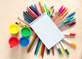 School and office accessories colorful Stock Images