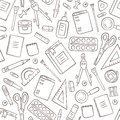 School and office stationery. Seamless pattern in doodle and cartoon style. Outline