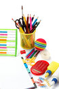 School and office supplies back to school on white background Royalty Free Stock Images