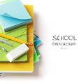 School office supplies back to on white background Stock Photos