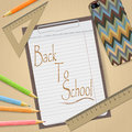 School and office supplies and empty clipboard isolated on light brown background.