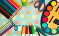 School and office supplies frame. Royalty Free Stock Photo