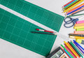School and office supplies frame, on white background Royalty Free Stock Photo