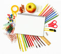 School and office supplies on white Stock Photos