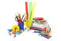 School and office supplies on white background back to school Stock Photos