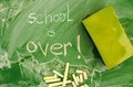 School is over green class board with handwriting Stock Image
