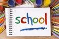 School Painted On Sketch Pad, ...