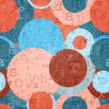 School paper abstract background with letters and circles on shabby texture Royalty Free Stock Photo
