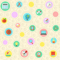 School pattern seamless of flat education symbols in circles Royalty Free Stock Image