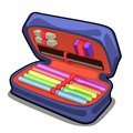 School pencil case with stationery set isolated on white background. Vector cartoon close-up illustration.