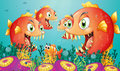 A school of piranha under the sea illustration Stock Image