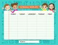 School plan schedule template memos set for children Royalty Free Stock Photo