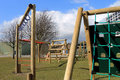 School playground secondary with climbing frame scarborough england Stock Photo