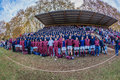 School pupils cheer rugby match supporters kearsney college on the grandstands and players supporting the st team team wide angle Stock Photography