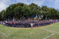 School pupils cheer rugby match supporters pietermaritzburg college on the grandstands and senior cheerleader supporting the st Royalty Free Stock Photography