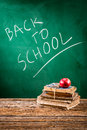 School is ready to students coming back on old wooden table Stock Image