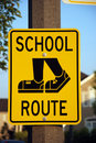 School route road sign Stock Photos