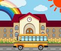 School scene with building and bus Royalty Free Stock Photo