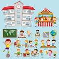 School scenes with kids in classroom