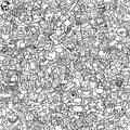 School seamless pattern in black and white repeated with mini doodle drawings icons illustration is eps vector mode Stock Image