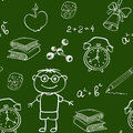 School seamless pattern on a chalkboard vector with various items Stock Photos