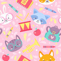 School seamless pattern for children