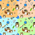School seamless pattern with funny owls