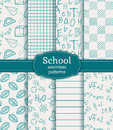 School seamless patterns. Vector set. Royalty Free Stock Photo