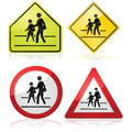 School signs collection of different traffic indicating a nearby crossing Stock Image
