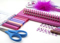 School stationary girlish back to background Royalty Free Stock Photo