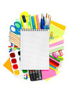 School stationery with notebook copyspace Royalty Free Stock Photography