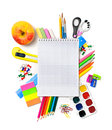 School stationery with notebook copyspace isolated Royalty Free Stock Photo