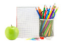 School stationery on a white Royalty Free Stock Photo