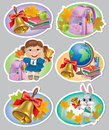 School stickers contains transparent objects eps Stock Photo
