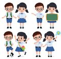 School students vector characters set. Back to school classmates elementary student characters.