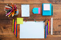 School stuff top view of laying on the wooden table Royalty Free Stock Photography