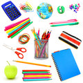 School supplies assortment of individually isolated on white Stock Images