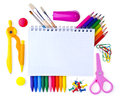 School supplies back to background Stock Photography