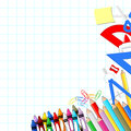 School supplies background on white grid paper in vector format very easy to edit individual objects Royalty Free Stock Photography