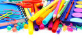 School supplies border of colorful over white Royalty Free Stock Photography