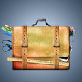 School supplies briefcase leather bag with Royalty Free Stock Image