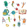 School supplies characters set of icons Education equipments