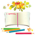 School supplies with colored pencils leaves bell bow vector Royalty Free Stock Photo