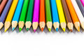 School supplies colored pencils in a row Royalty Free Stock Photo