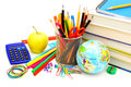 School supplies colorful collection of various over white Stock Photography
